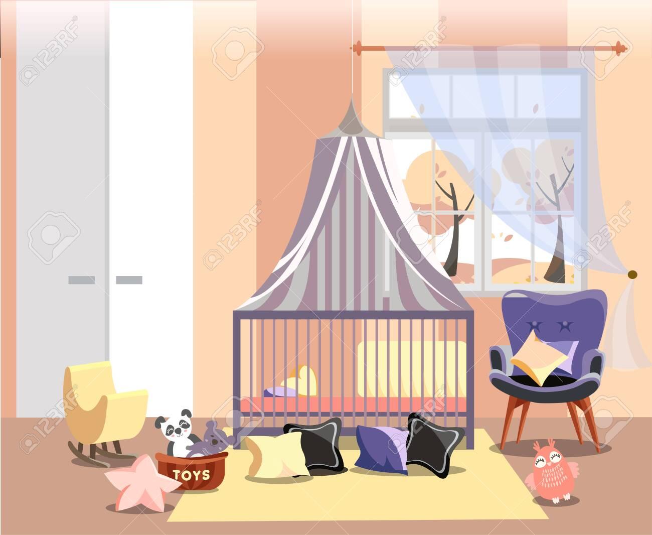 Image of: Newborn Kid Or Nursery Room Interior Flat Vector Illustration Royalty Free Cliparts Vectors And Stock Illustration Image 122003051