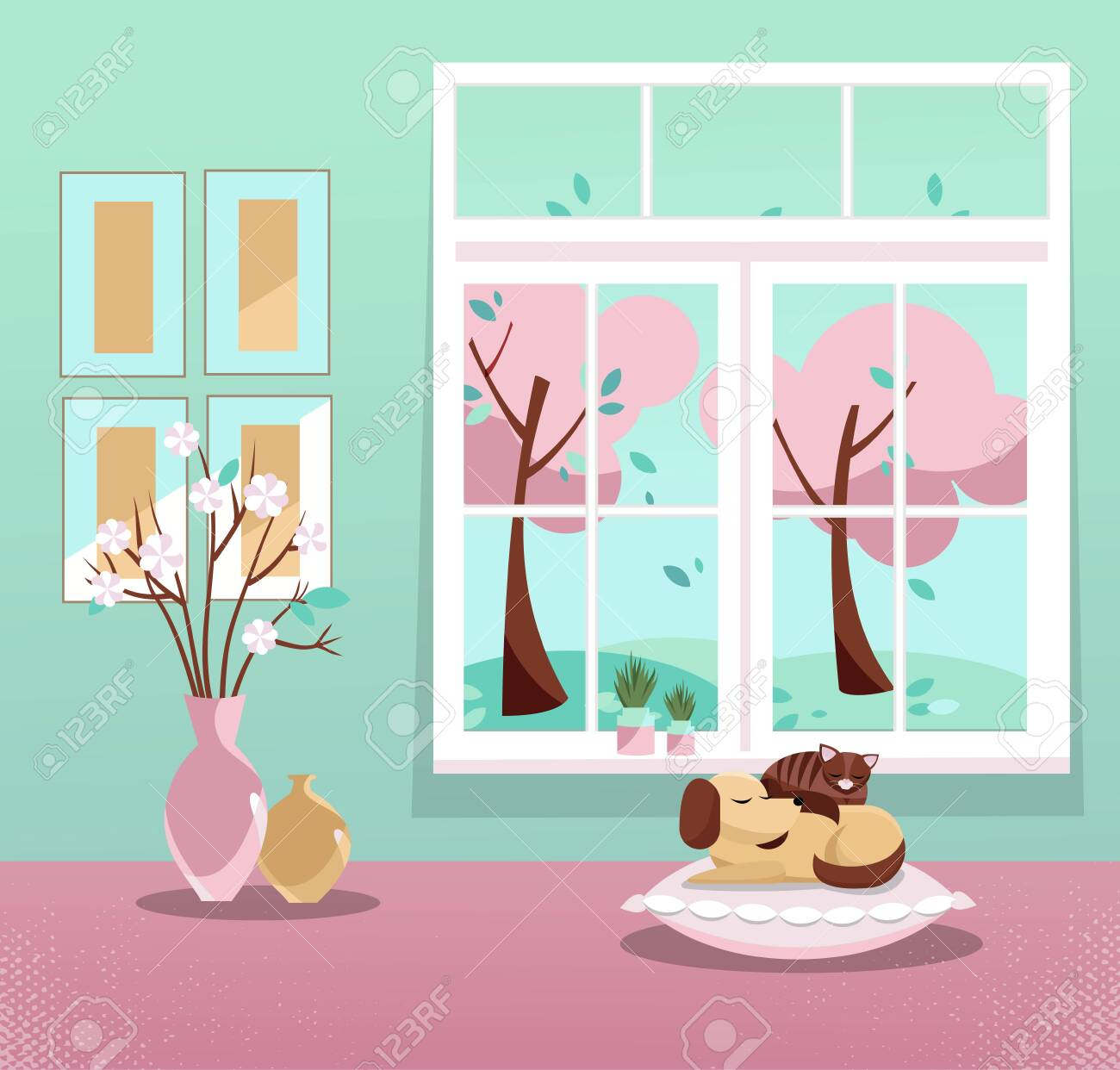 Window with a view of pink trees in blossom and flying leaves. Springinterior with sleeping cat and dog, vases, pictures on mint wallpaper. Sweet home. Cozy interior. Flat cartoon vector illustration. - 122495870