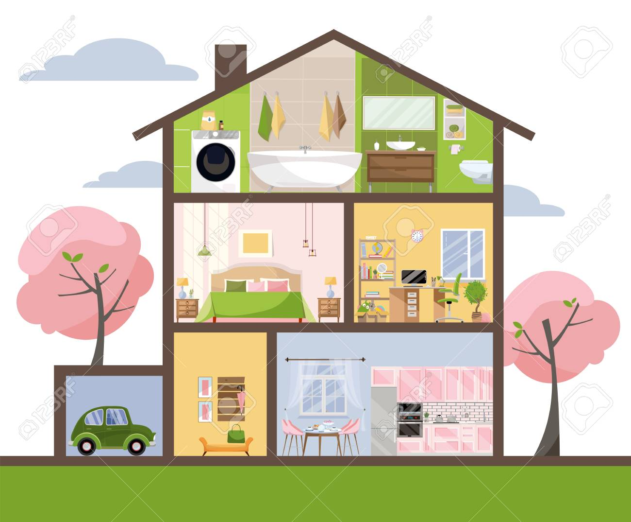 House in cut. Detailed interior. Set of rooms with furniture. Cross section with bedroom, living room, kitchen, dining, bathroom, nursery, garage. Home inside. Flat cartoon style vector illustration. - 122496030