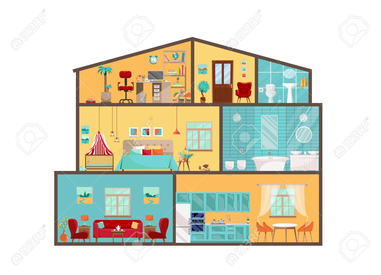 House Model From Inside Detailed Interiors With Furniture And