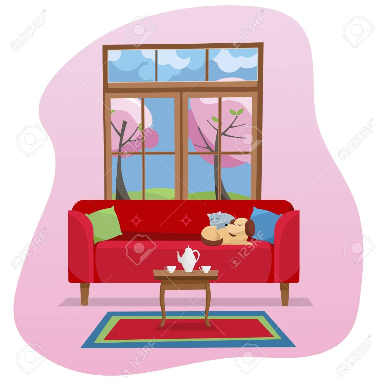 Magnificent Modern Flat Design Concept Living Room Interior In Color Spot Machost Co Dining Chair Design Ideas Machostcouk