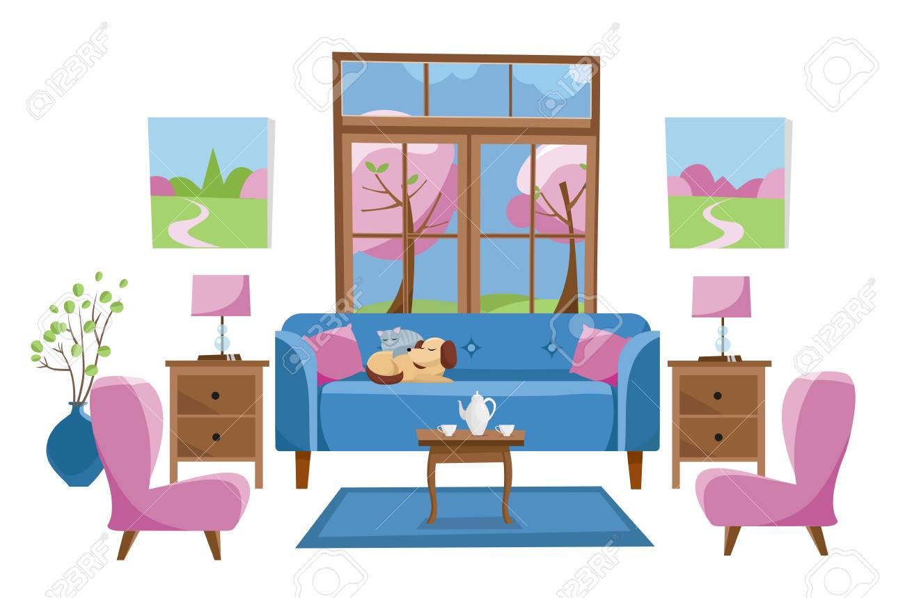 Living Room Furniture In Bright Colors On White Background Blue