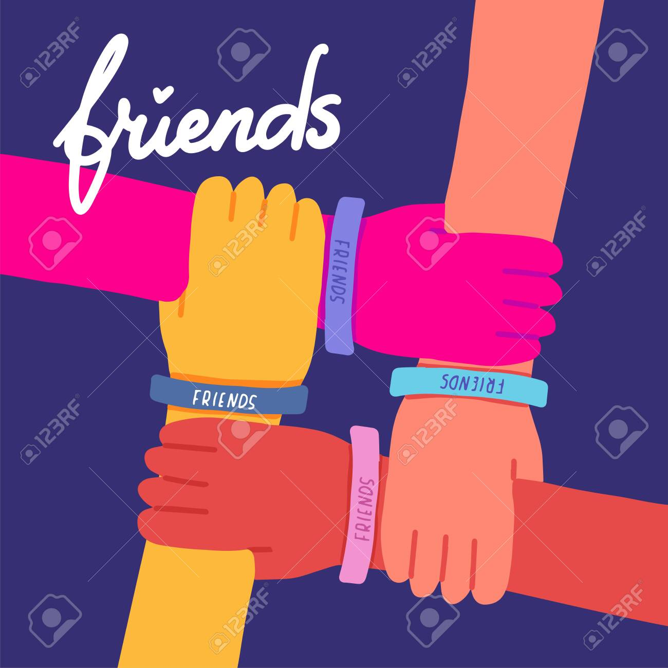 Happy friendship day illustration. Colorful four hands crossed together on dark blue background. Vector illustration of friendship with lettering text Friends.Holiday of togetherness, unity,having fun - 127128280