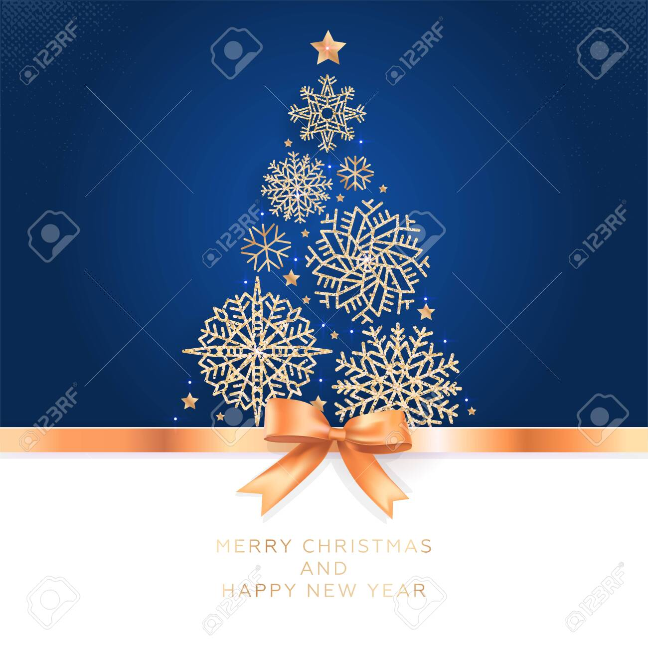 Christmas and New Year. Vector greeting card with Christmas tree of glittering snowflakes and golden bow. - 133564564