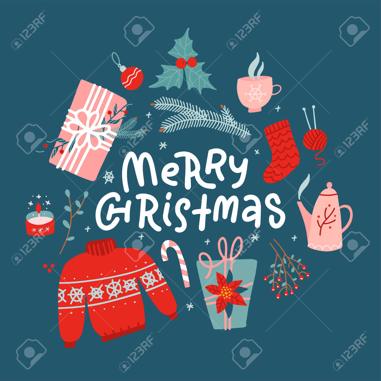 Merry Christmas concept. New Year toys, gifts, sweater - top view and text. Postcard, banner, printed matter, greeting card. Flat vector design. - 158541937
