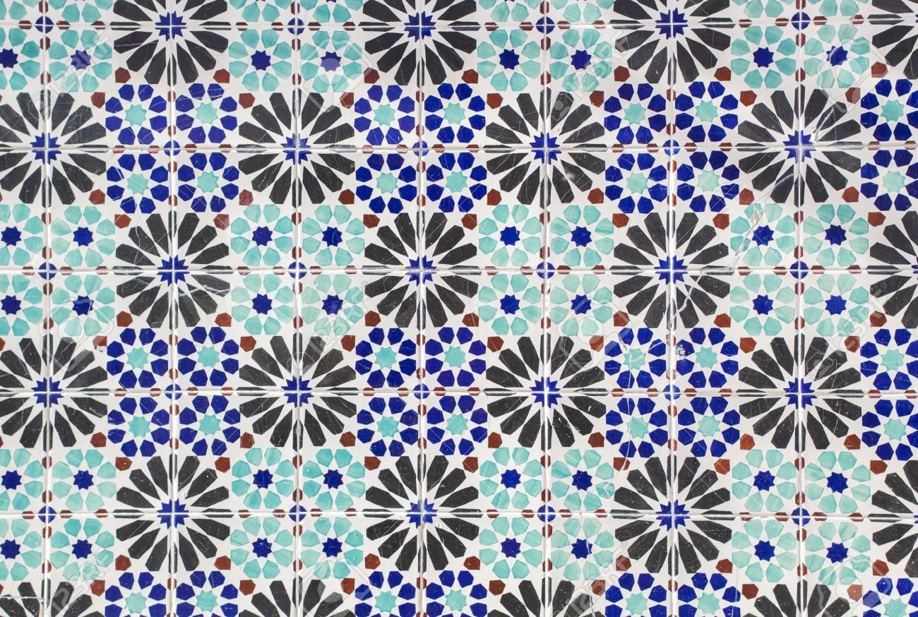 Keramische Fliesen Muster In Blau Turkis Und Schwarz Lizenzfreie