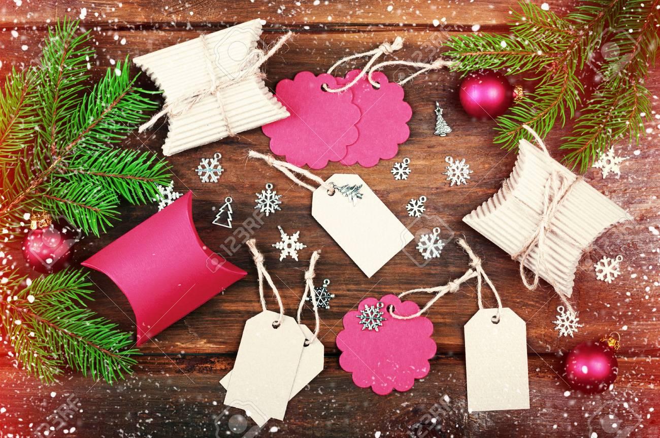 Handmade Christmas Gift Tags And Christmas Gift Boxes On Wooden ...
