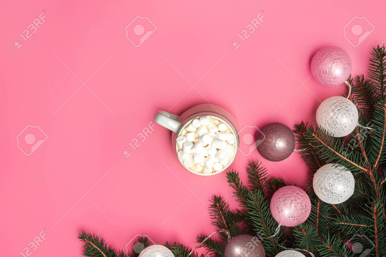 Trendy Christmas Background Of Of Hot Chocolate With Marshmallow Stock Photo Picture And Royalty Free Image Image 134824659