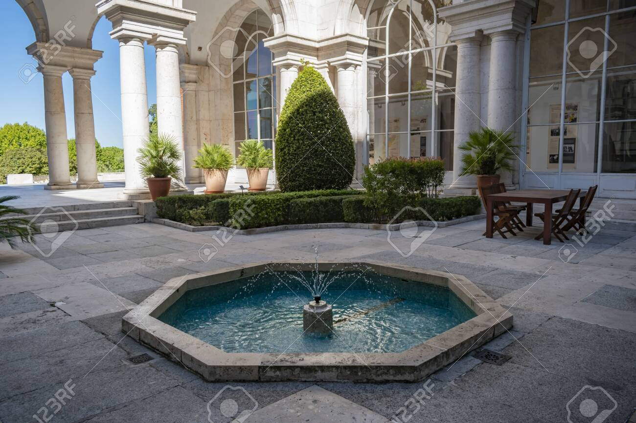 Beautiful Interior Patio With Blue Water Fountain Stock Photo Picture And Royalty Free Image Image 136392312
