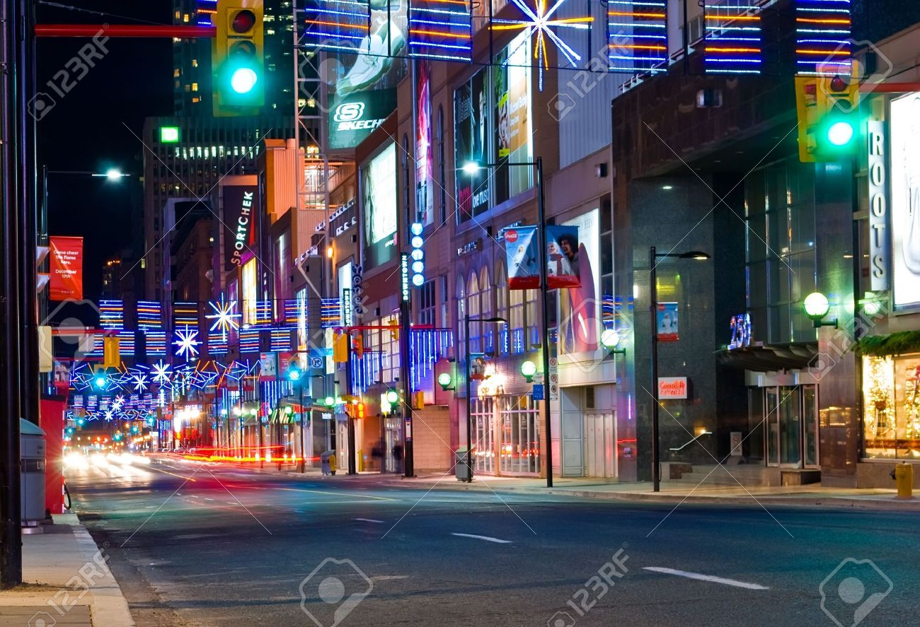 Christmas In Toronto Canada.Yonge Street In Toronto Canada At Christmas Time With Light