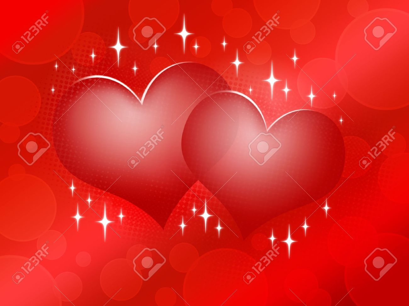 Two Red Hearts On Red Background - Happy Valentine'-s Day Design ...