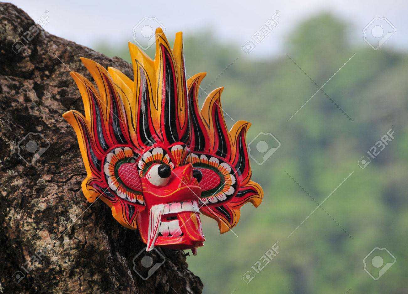 Sri Lankan traditional Fire Devil masks to sell at a store near