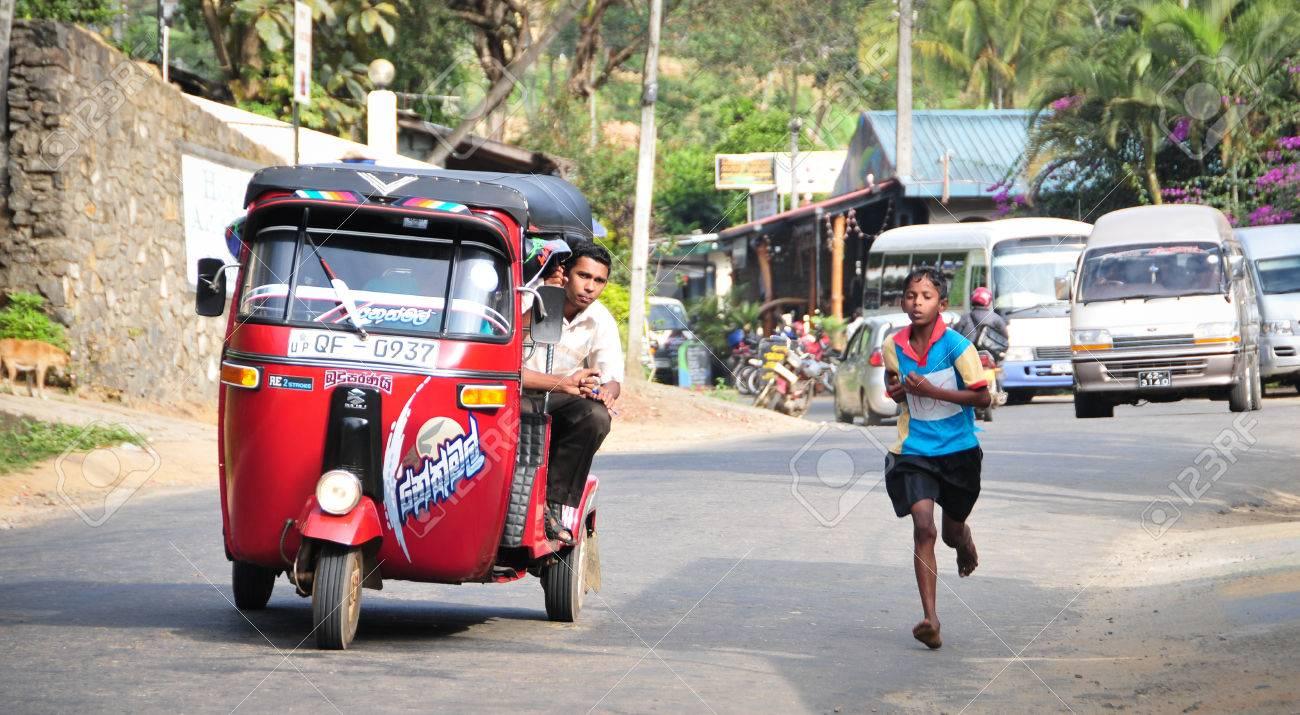 Ella, Sri Lanka - Jan 31, 2012. Students participate in the local marathon in Ella town, Sri Lanka. - 39835541