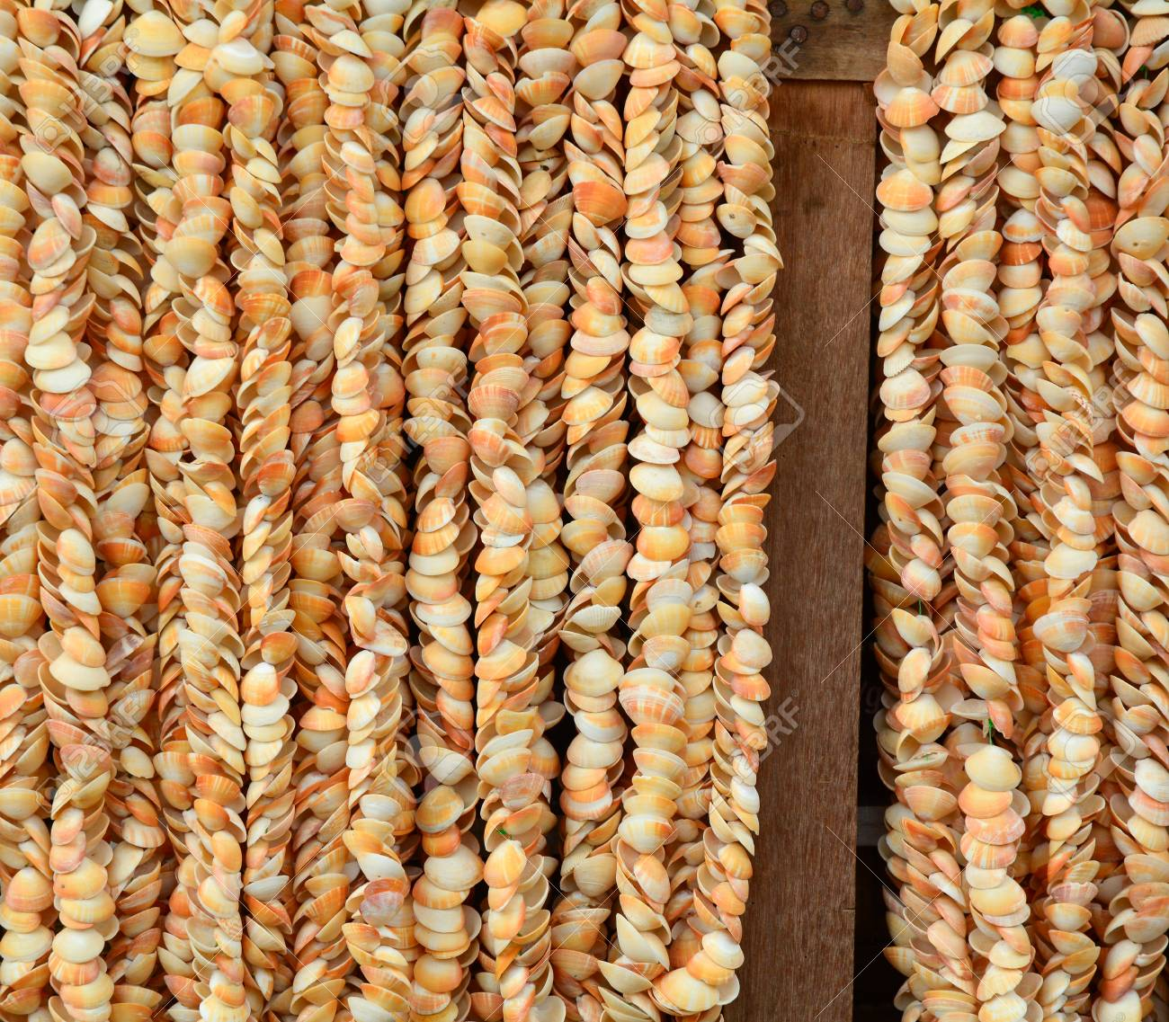 Colourful Shell Curtains At The Market In Ngapali Beach Myanmar Stock Photo