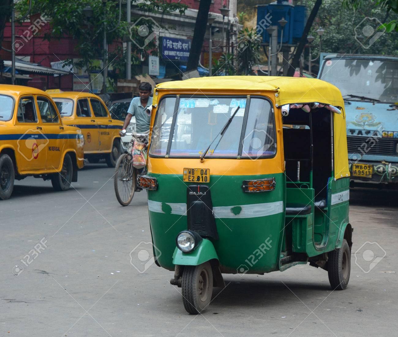 kolkata india jul 8 2015 private auto rickshaw three weeler