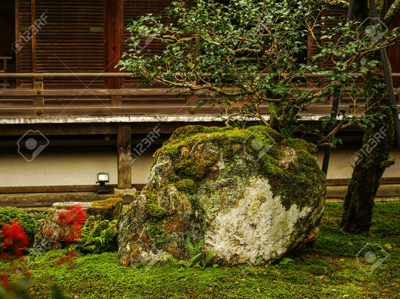 View Of Garden At A Shinto Shrine In Kyoto, Japan. Kyoto Is Famous ...