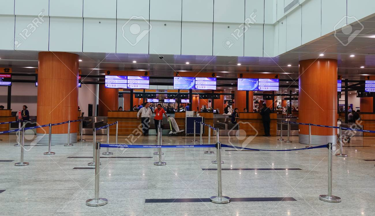 Yangon Myanmar Feb 14 2017 Check In Counters At Departure Stock Photo Picture And Royalty Free Image Image 73699291