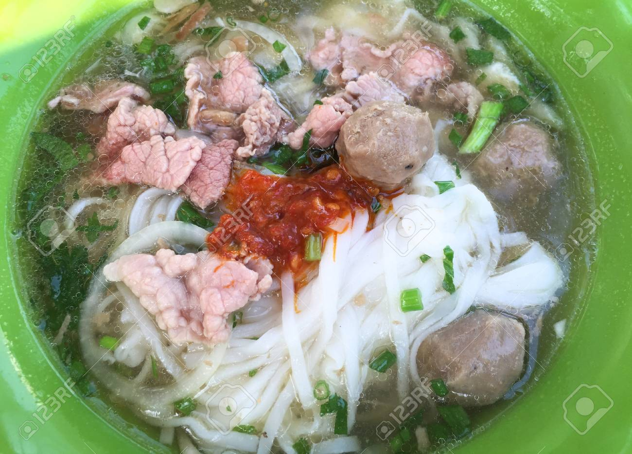 Bowl Of Vietnamese Pho Noodle Soup With Rare Beef Tendon Tripe Stock Photo Picture And Royalty Free Image Image 79500140