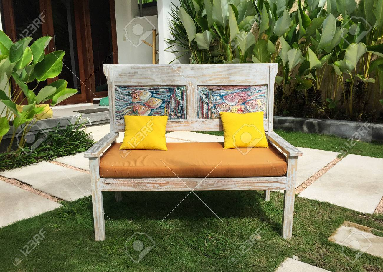 Relaxing Chairs At Garden Of An Eco Resort In Lombok, Indonesia. Stock  Photo