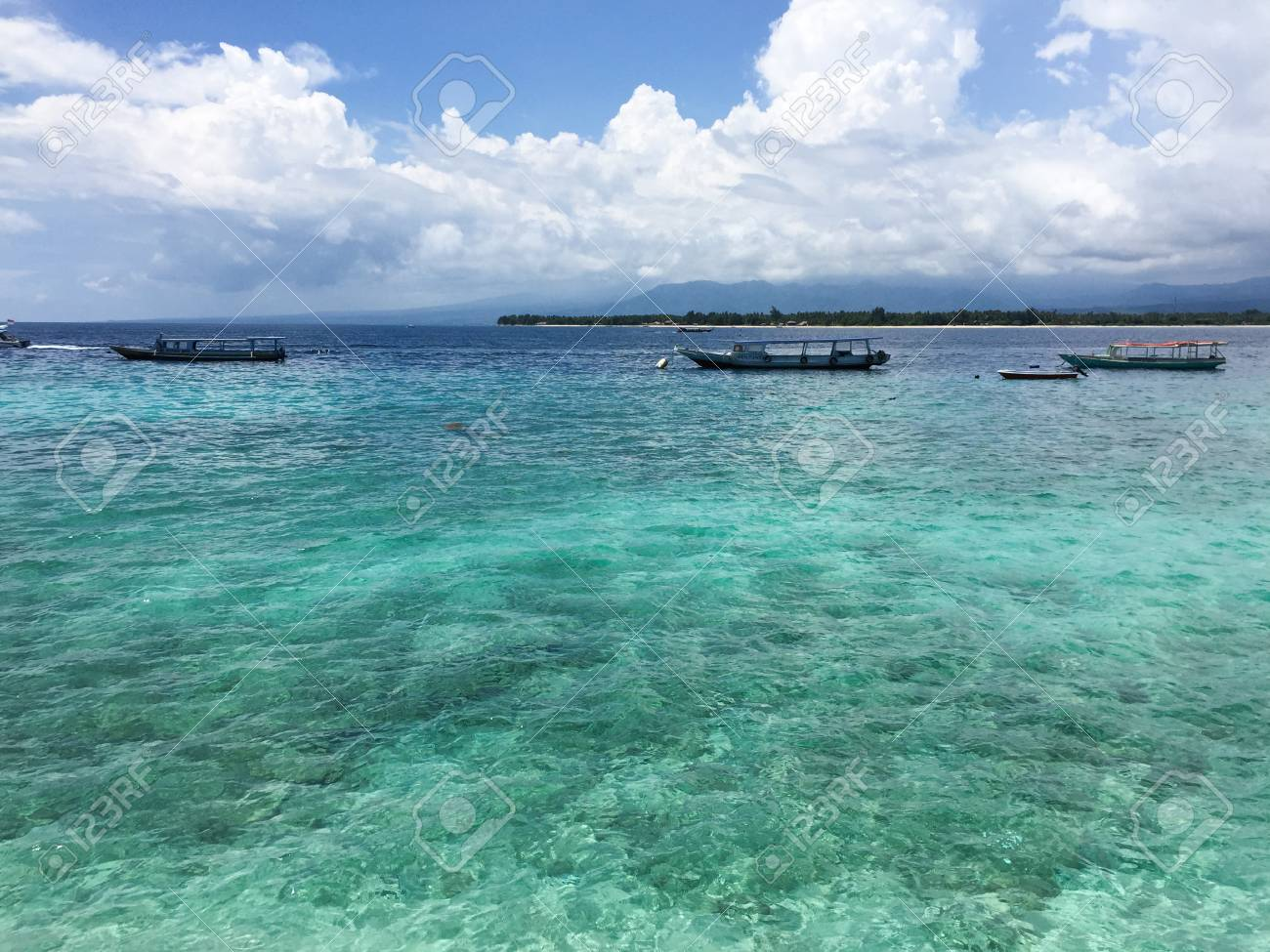 Tourist Boats On The Sea In Lombok Island Indonesia Lying To