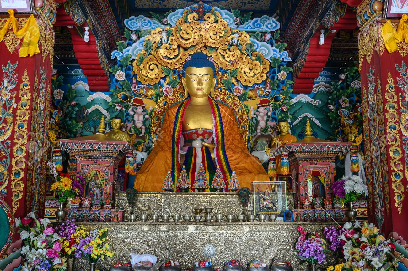 Bodh Gaya, India - Jul 9, 2015  Interior of Royal Bhutanese Monastery