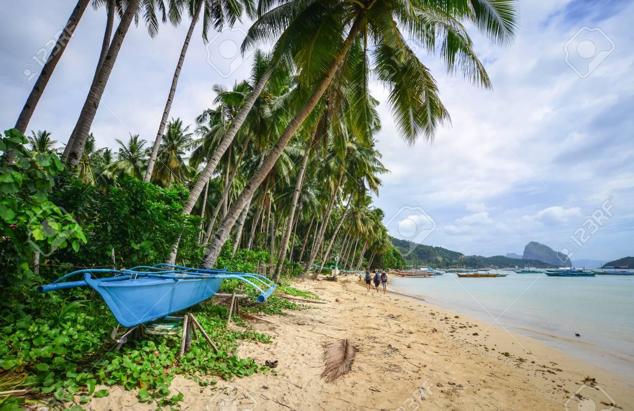 People Walking On Beach In Coron Island Palawan Philippines