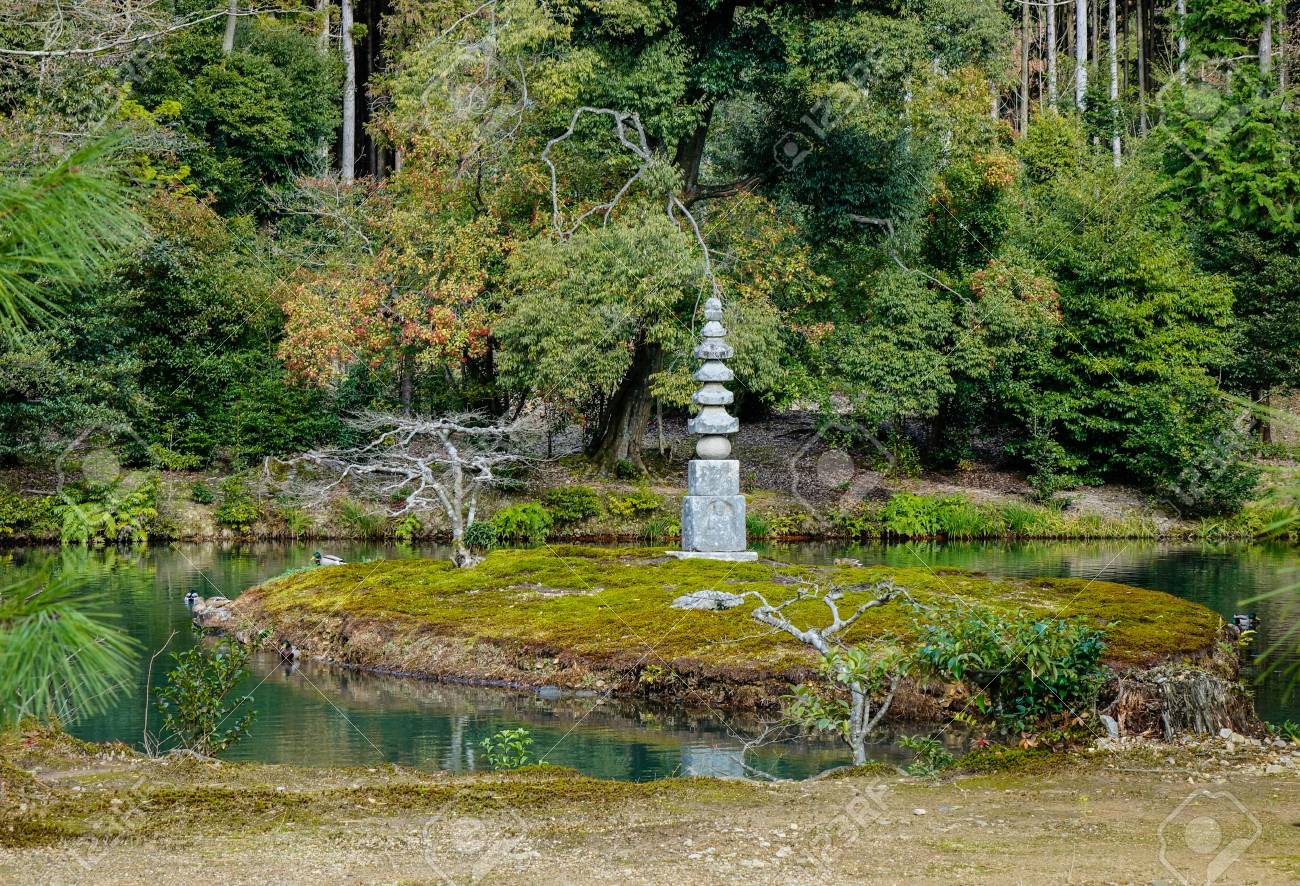 Stone Monument Of A Japanese Zen Garden At Summer In Kyoto Japan