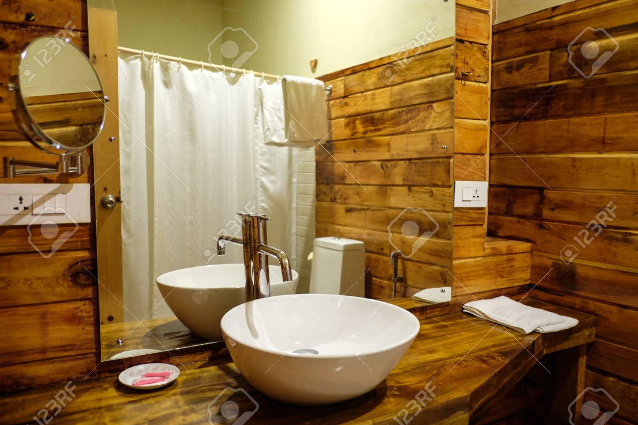 stock photo thimphu bhutan aug 30 2015 interior of wooden bathroom at luxury hotel in thimphu bhutan bhutan is geopolitically in south asia and is