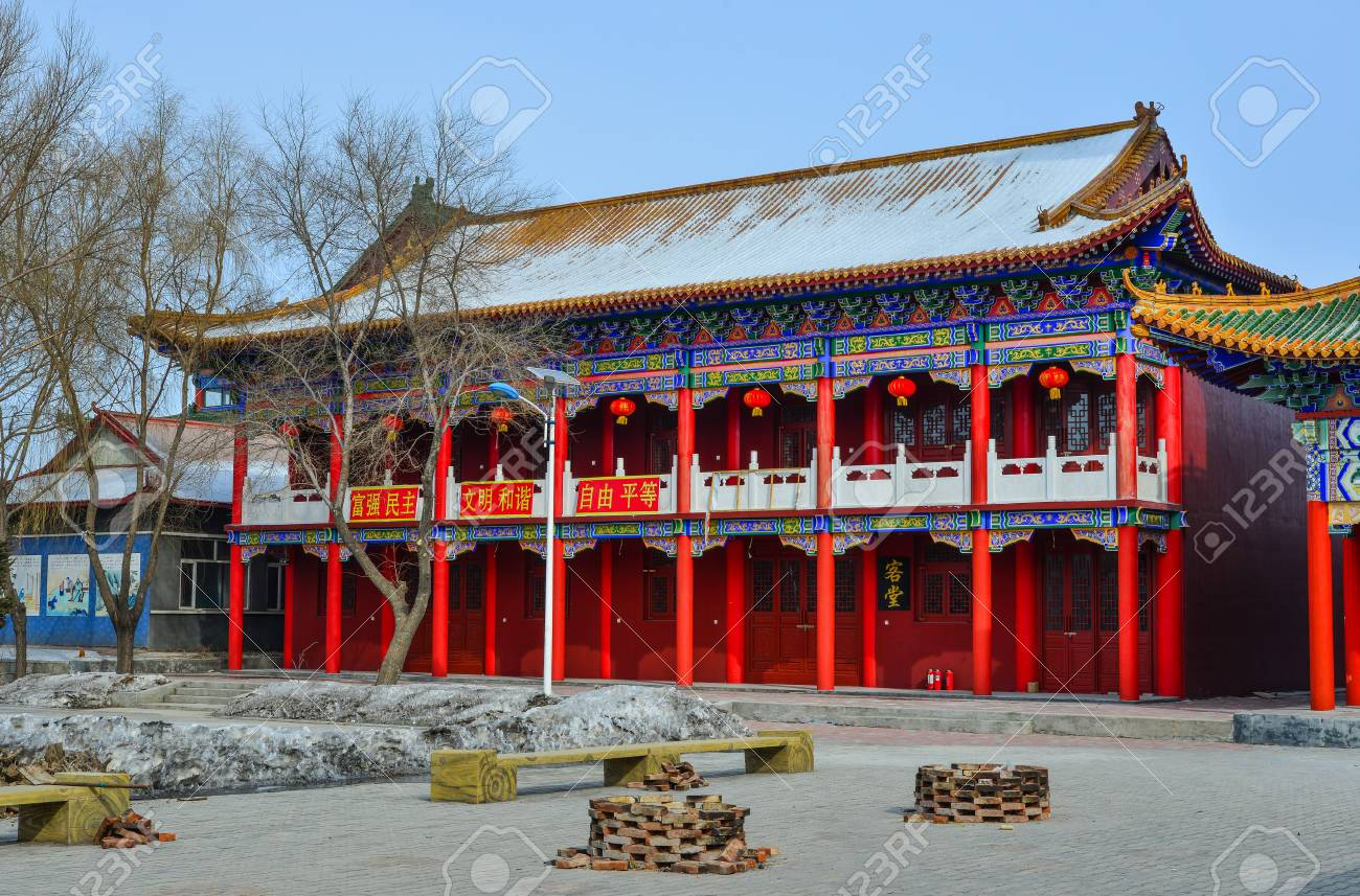 harbin china feb 25 2018 view of chinese pagoda in harbin
