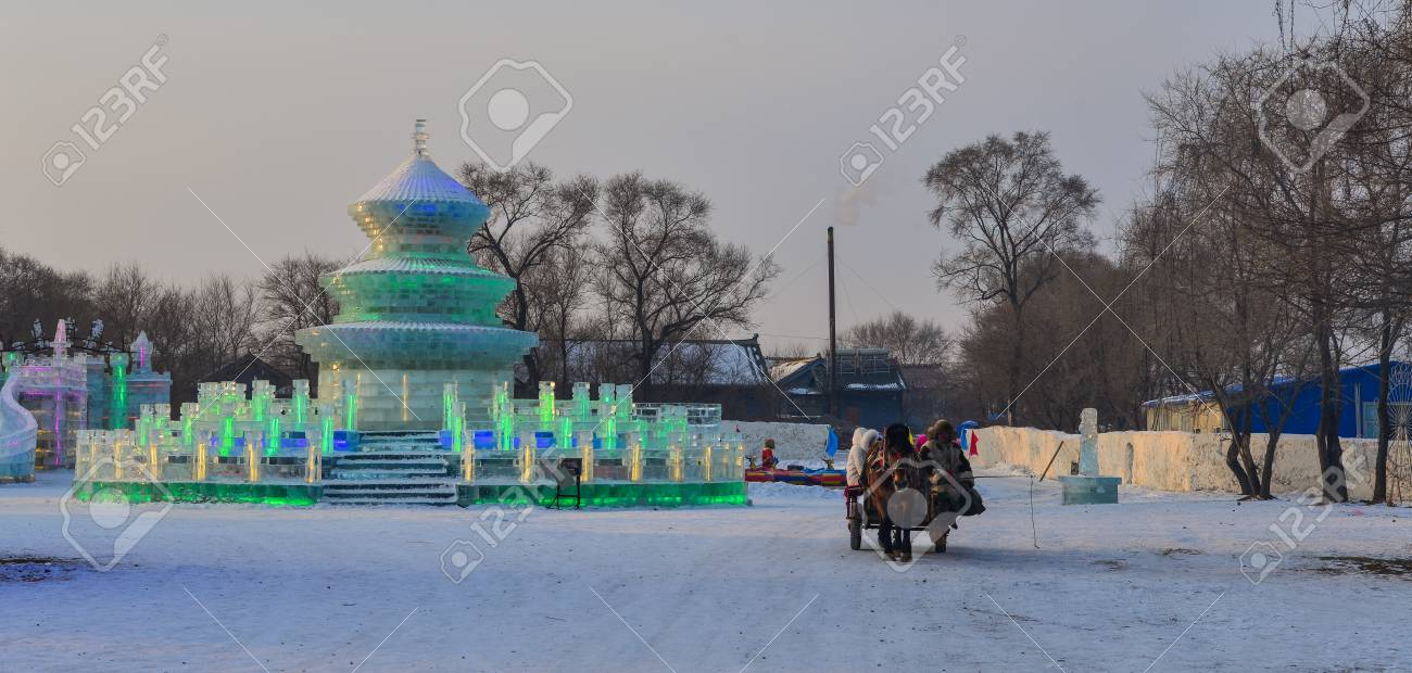 Harbin China Feb 25 2018 Horse Cart With Ice And Snow Sculpture Stock Photo Picture And Royalty Free Image Image 101113540