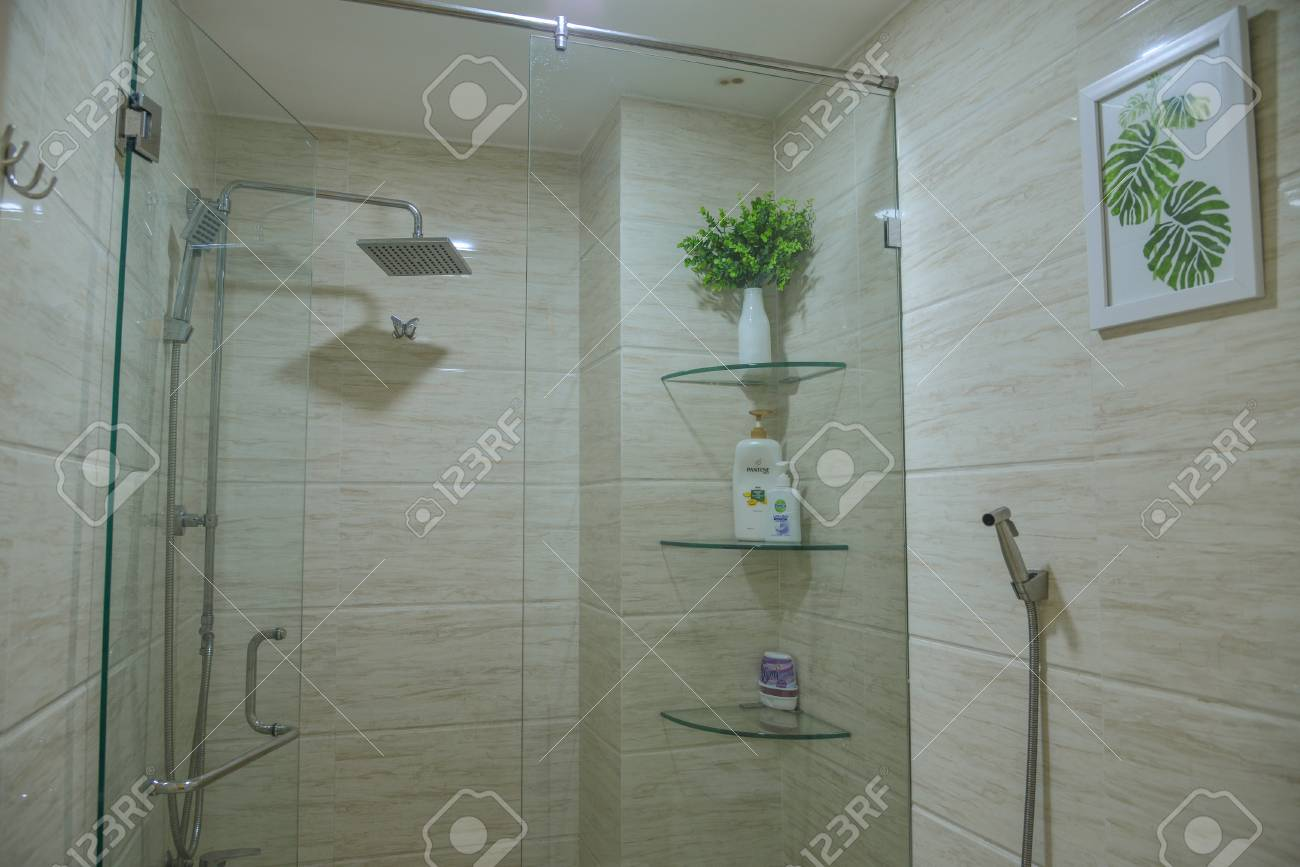 Saigon, Vietnam - May 6, 2018. Modern Glass Bathroom Of Typical ...