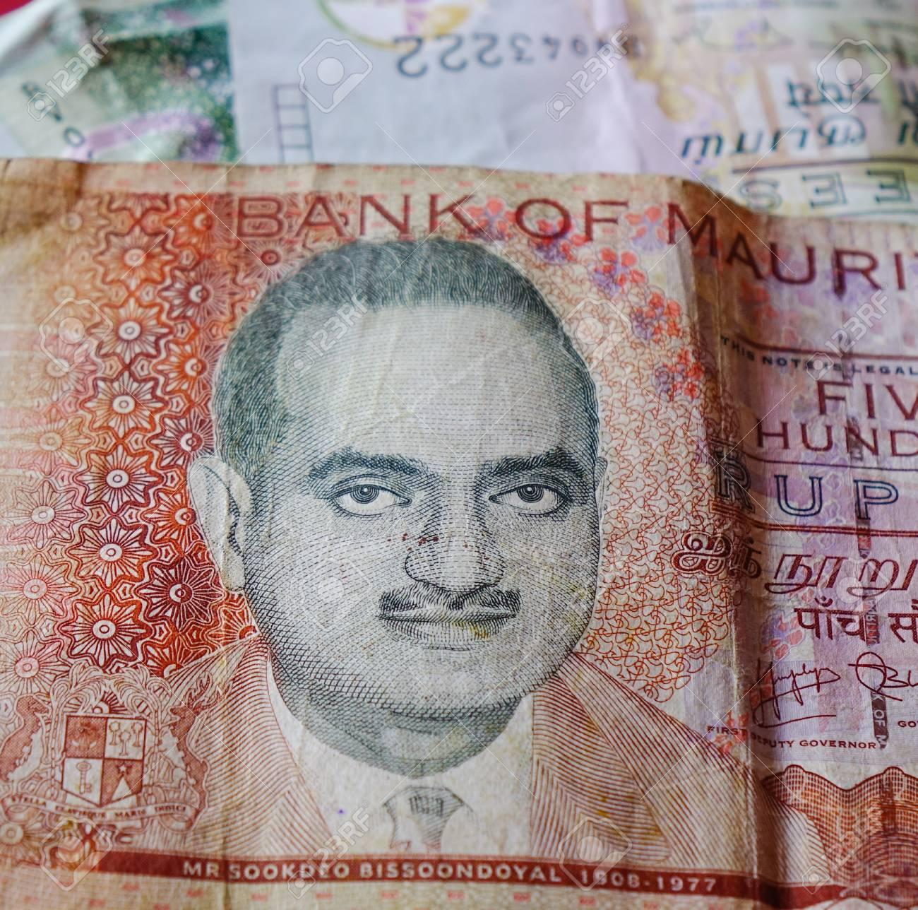 Mauritius Rupee Mur Billnotes With Portrait Money Background