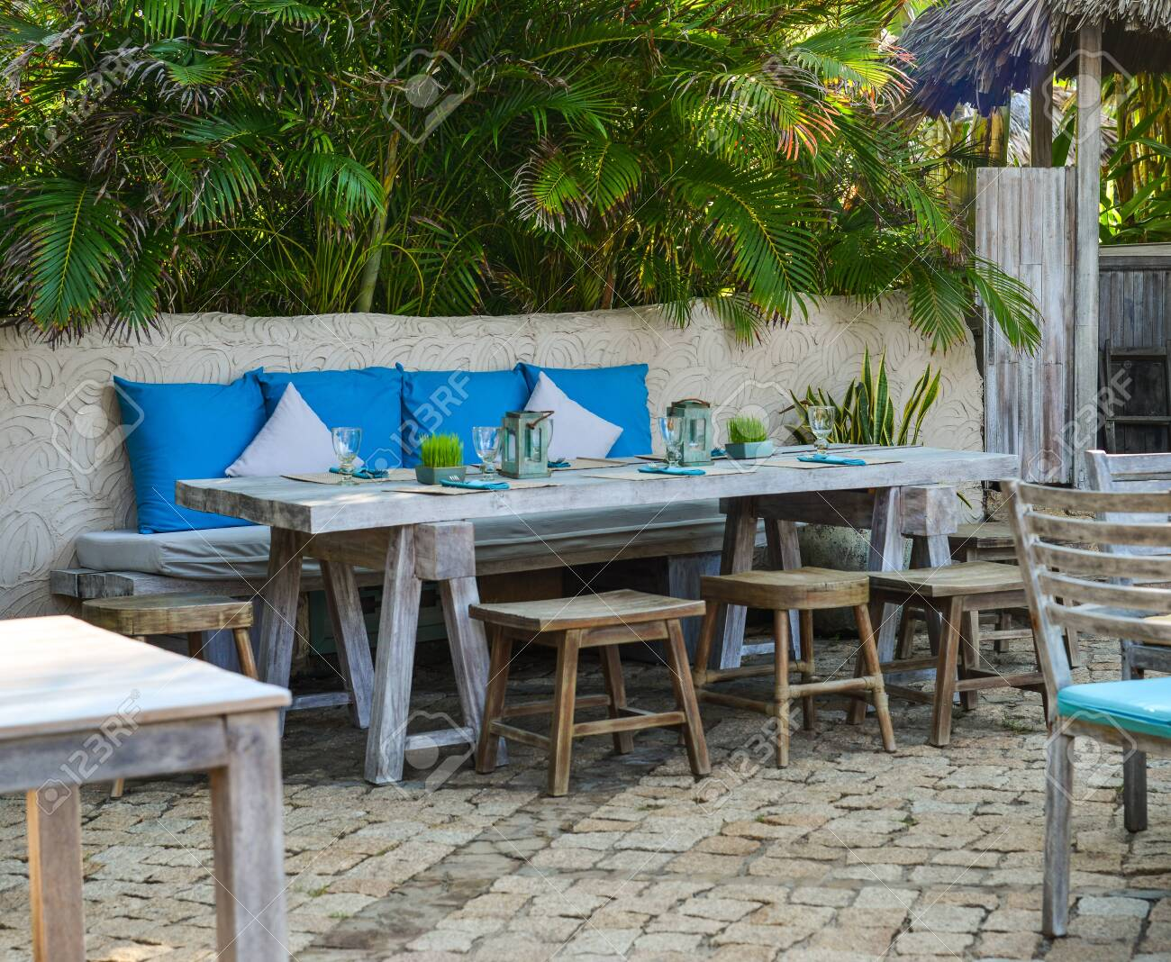 Outdoor Furniture In The Luxury Restaurant Tables And Chairs Stock Photo Picture And Royalty Free Image Image 124279364
