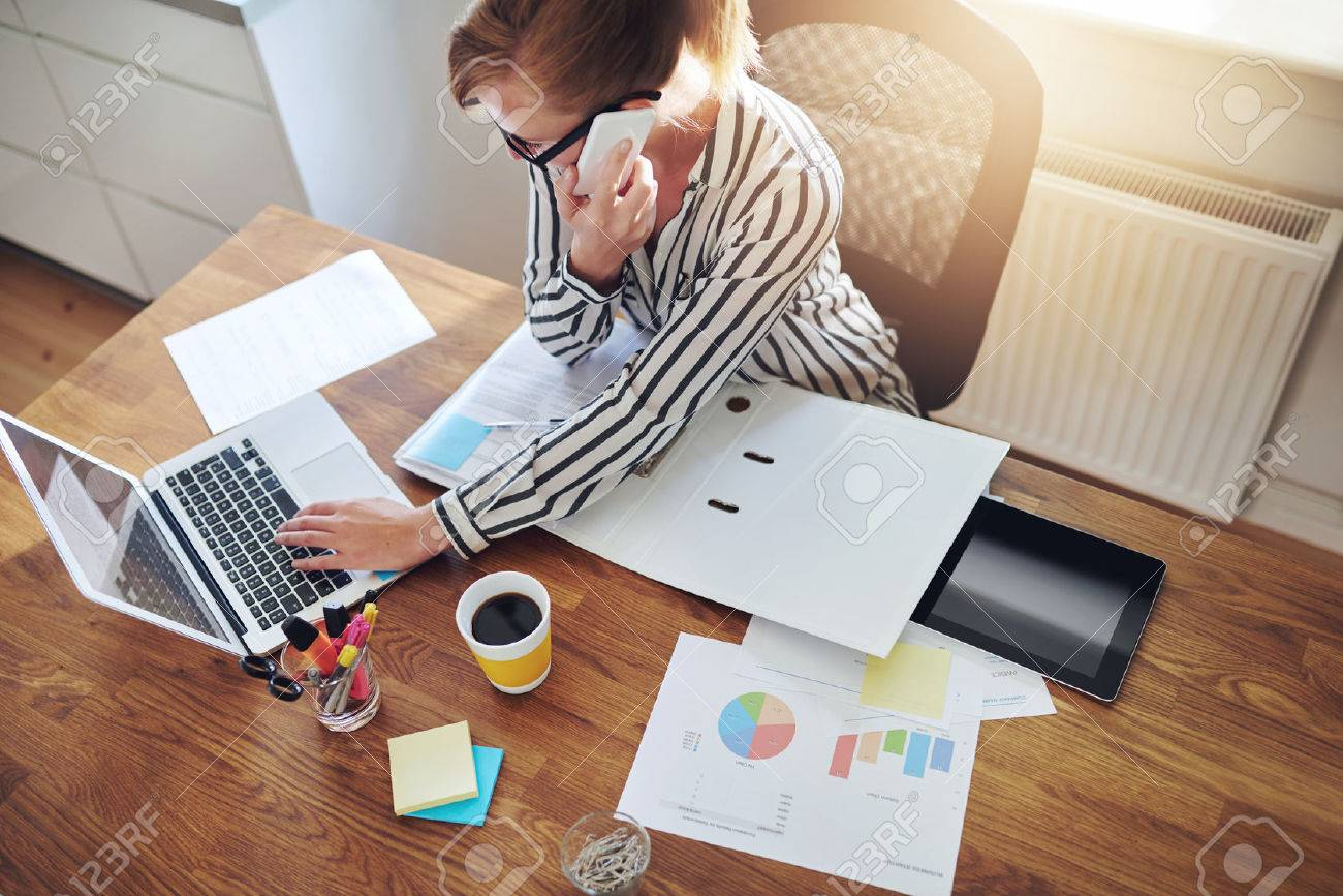 Successful businesswoman with an e-business working from an office at home telemarketing and taking orders over the phone or consulting with clients, high angle view Stock Photo - 45163972