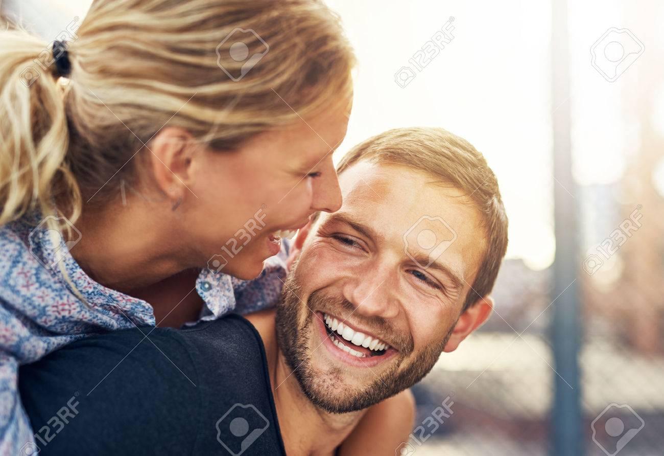 Closeup, Loving Couple, Blonde Woman and Beautiful Man - 52864107