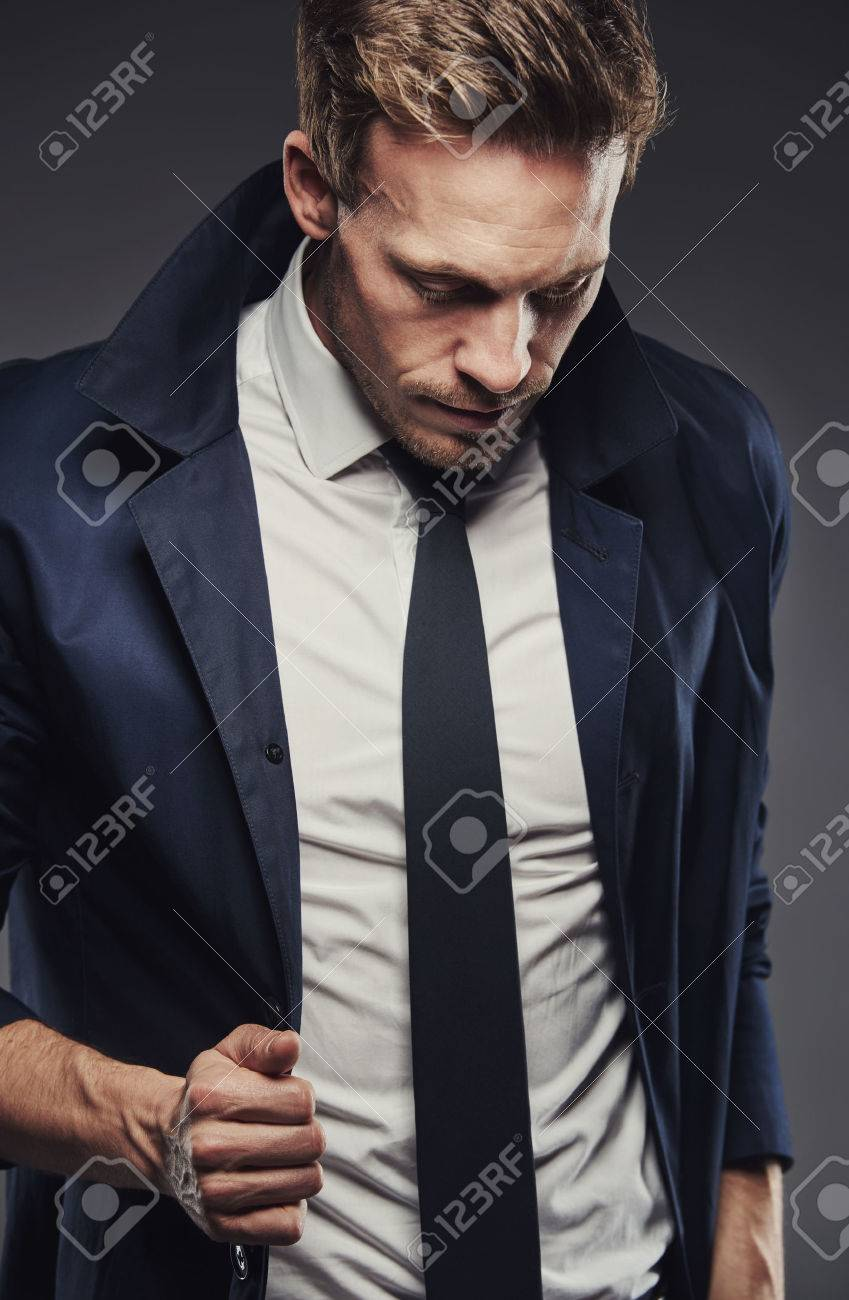 Snappy Dressed Business Man Wearing Thin Tie And With Collar Stock