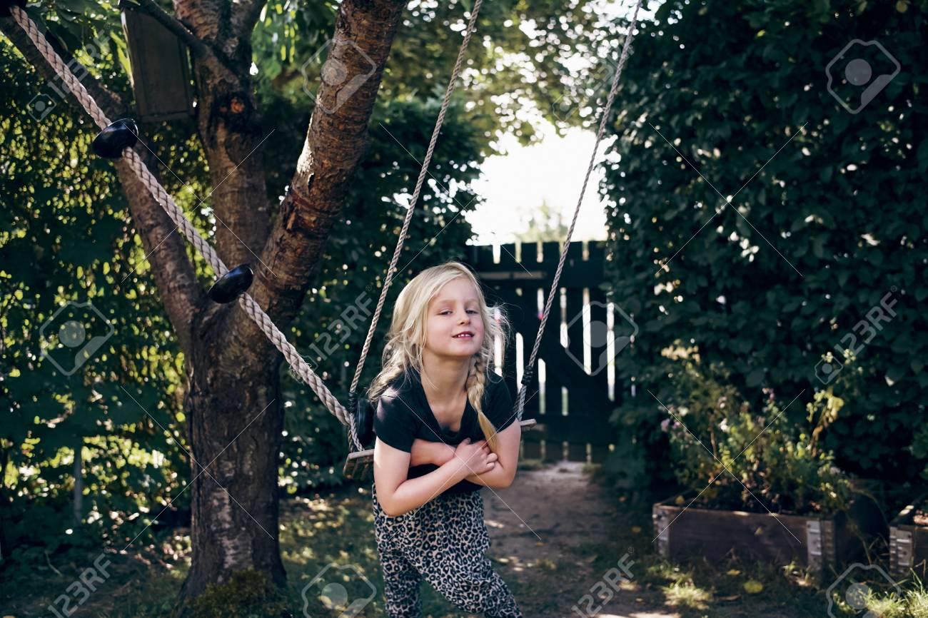 Blonde playing alone