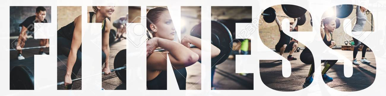 Collage of a fit young woman focused on lifting weights during a training session at the gym with an overlay of the word fitness - 114420227