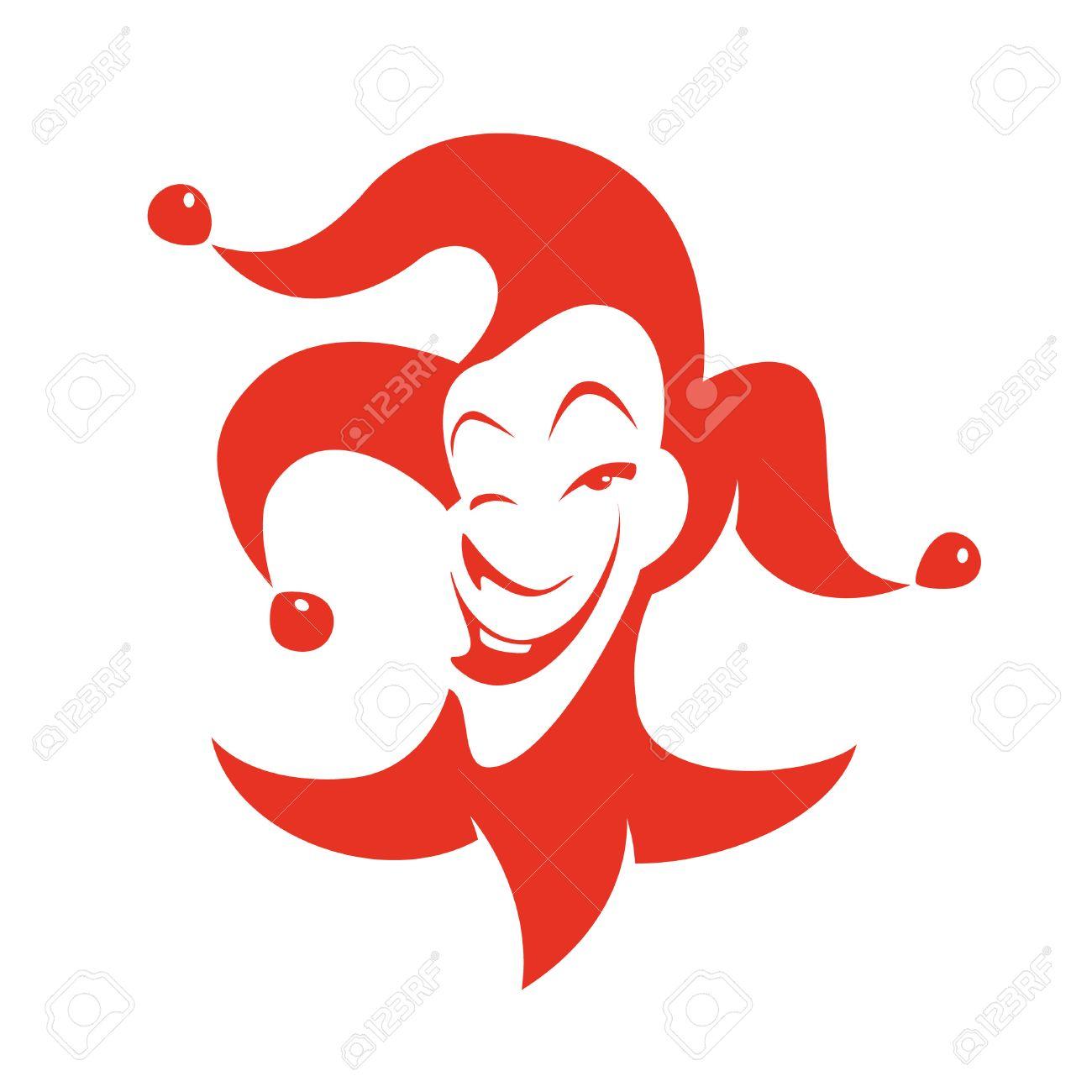 Joker Rouge Avec Un Regard Ruse Et Sourire Vecteur Dessine A La