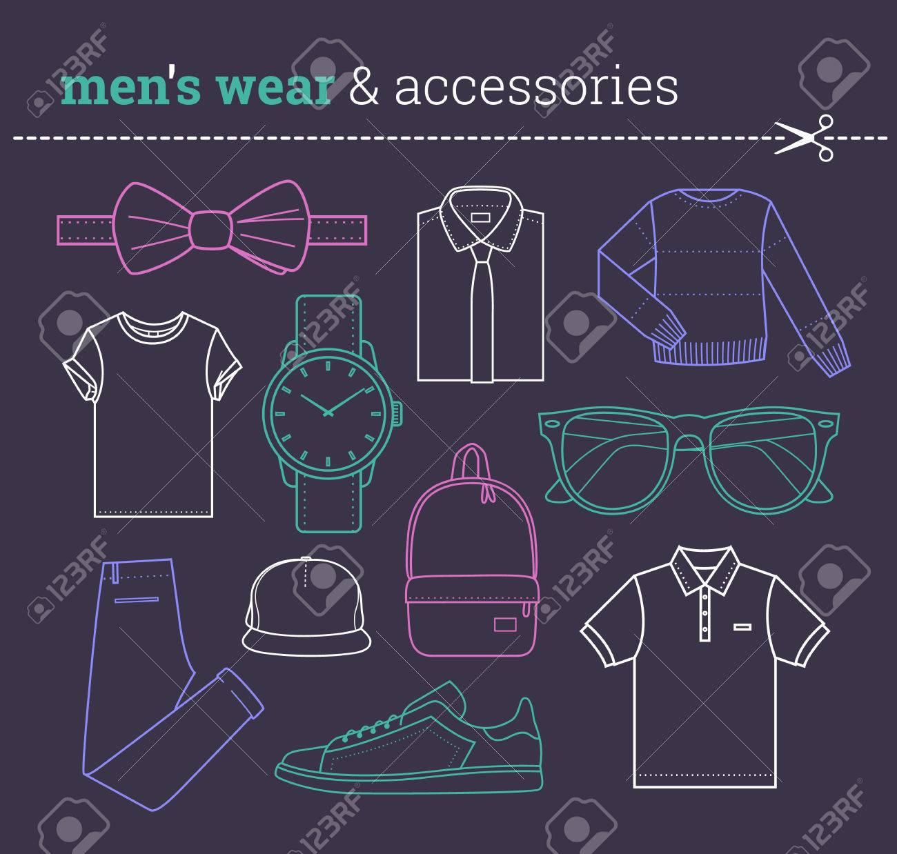 トレンディな男性服とアクセサリーおしゃれな男性アパレル要素薄い線, ヒップ スタイル株式ベクトル クリップアートのコレクション パックのセット