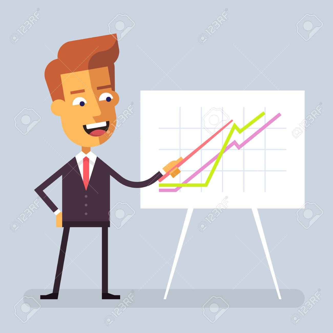f231696e4866 Handsome manager in formal suit is giving a presentation and showing  graphs. Cartoon character -