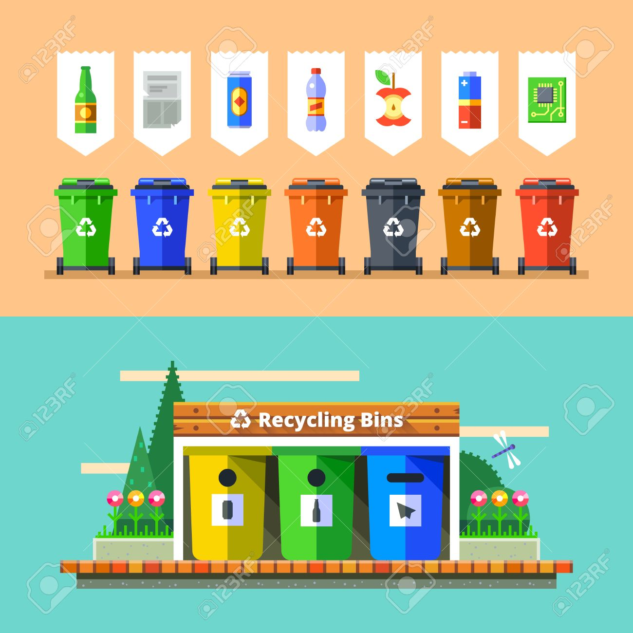 Waste management and recycle concept. Separation of waste on garbage bins. Sorting waste for recycling. Colored garbage cans with waste types. Vector illustration in flat design. - 54030385