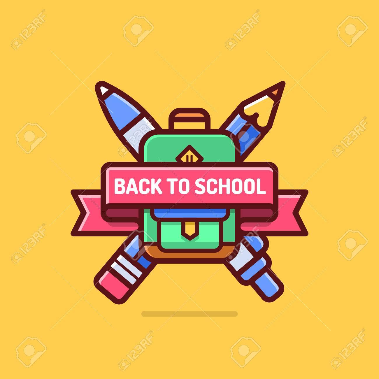 Back To School Badge. Cool Trendy School Logo With Ribbon f51f9210188e2