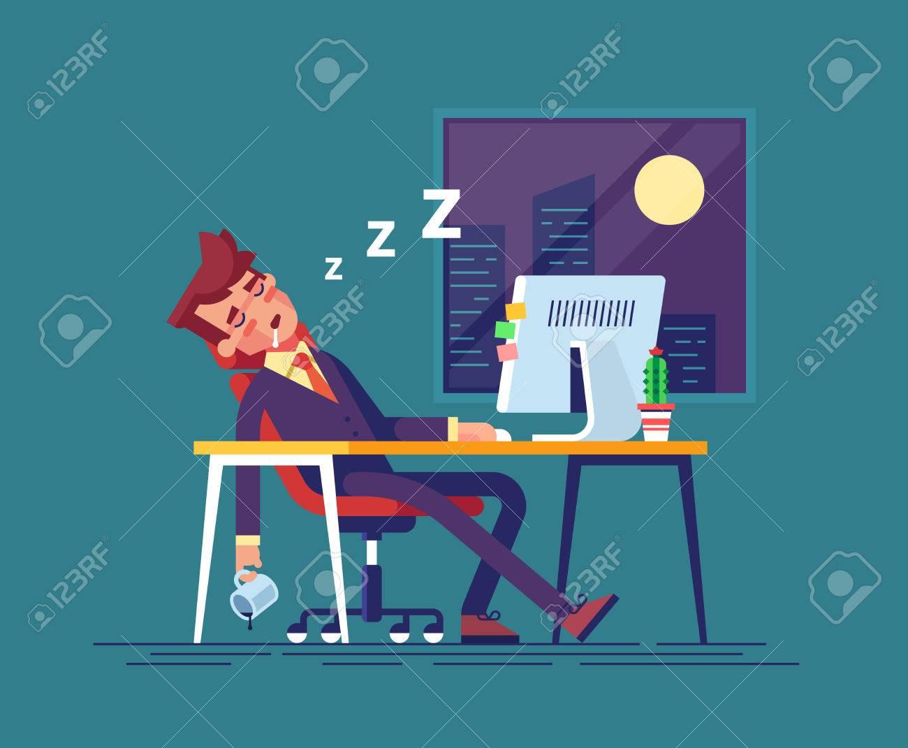 Lavoro Ufficio Clipart : L uomo d affari esaurito si è addormentato sul posto di lavoro
