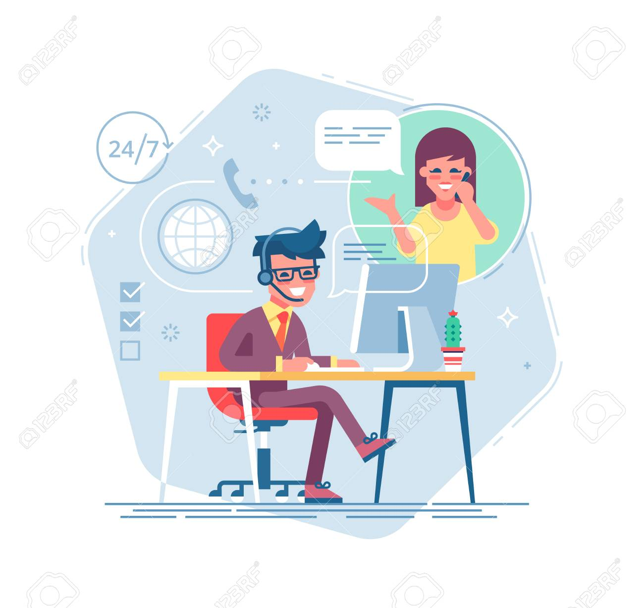 Happy male helpline operator with headset consulting a client. Online global tech support 24 7. Operator and customer. Technical support concept. Vector illustration in flat design. - 90692824