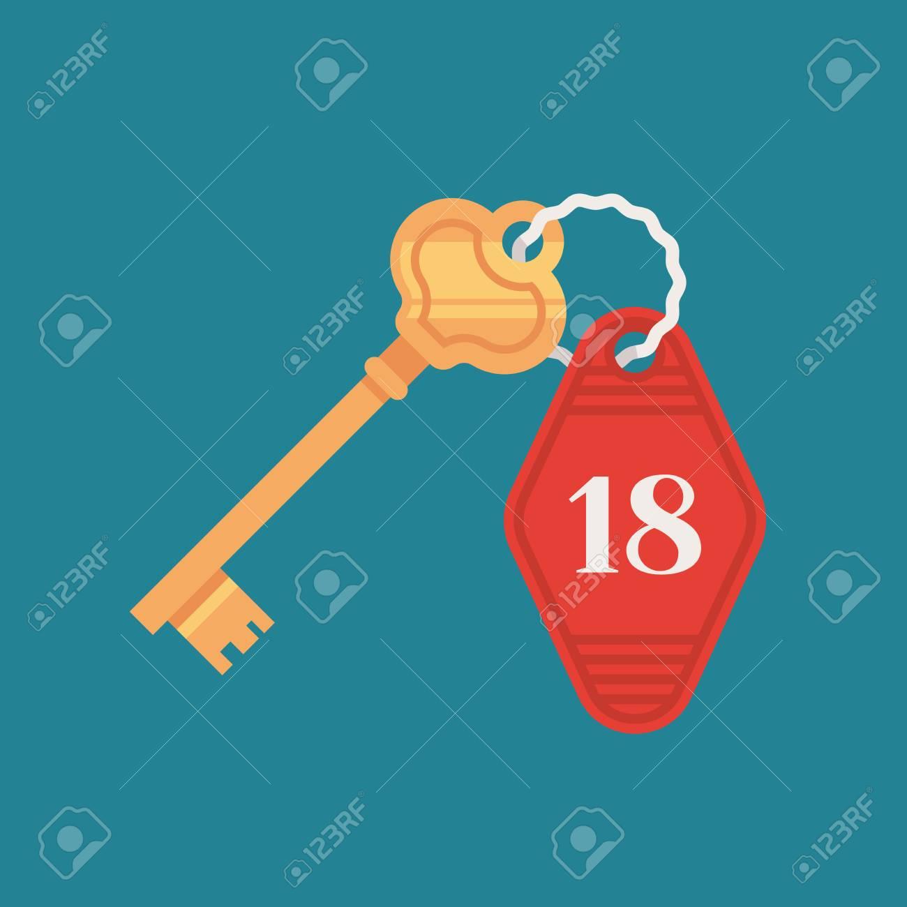 door lock and key cartoon. Door Lock Key With Room Number Badge In Cartoon Illustration. Stock Vector - 91881356 And