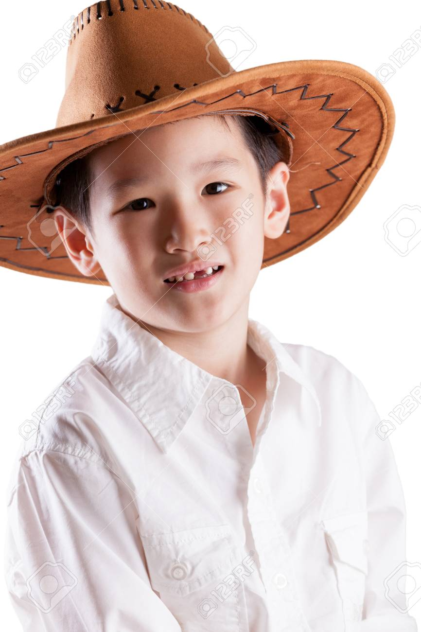 39cb8d3de9aaf Asian Boy wearing Cowboy Hat Stock Photo - 13622235