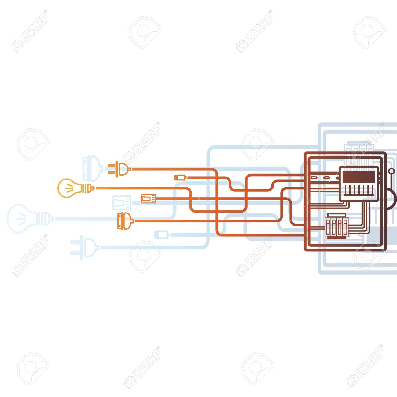 electrical panel, switch with wires, electric meter in box on white  background  stock