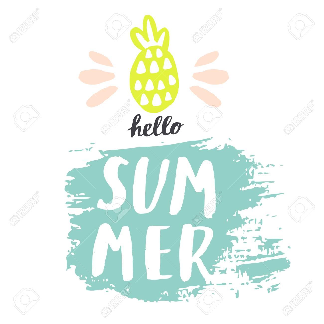 hello summer vector summer background with hand drawn pineapple rh 123rf com summer vector free summer vector free