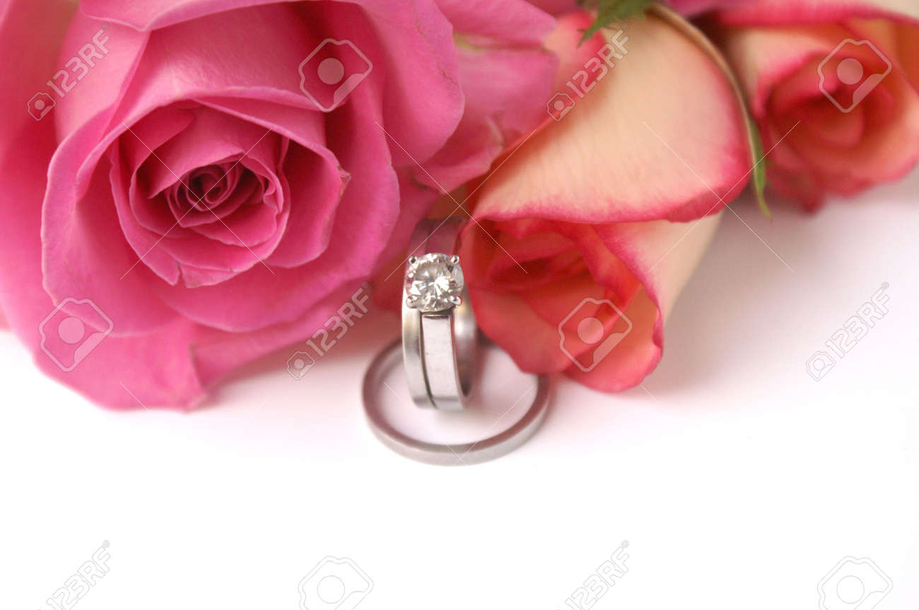 Wedding rings and roses Stock Photo - 710837
